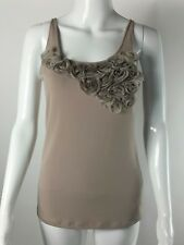 The Limited Womens Tank Cami Taupe Rosette Embellishment Stretch Size M EUC