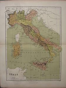 1886 ANTIQUE MAP ~ ITALY SARDINIA ROME TUSCANY LOMBARDY PIEDMONT VENETIA
