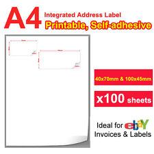 100 Integrated Address Double Sticker Label For eBay order Packing Slip printing