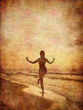 PITTURA disegno design Yoga Girl SEPPIA Beach Grunge art print poster MP3890A
