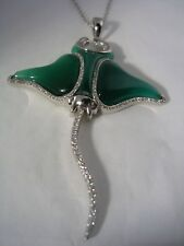 STINGRAY PENDANT WITH GREEN QUARTZ AND CUBIC ZIRCONIA SET IN STERLING SILVER