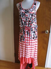 Kensie women's coral tang/white combo lined dress size Large NWT