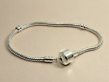 925 Sterling Silver Filled THREADED Snake Chain BRACELET fits European CHARMS