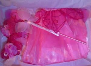 Princess Fairy Costume Butterfly Wings Tulle Skirt Hair Tie Wrist Band Wand  3+