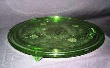 Vtg Jeanette Depression Glass Cake Plate Stand Green Sunflowers Footed Old
