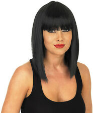 Adult Straight Black Wig With Fringe Gothic Lady Gaga Fancy Dress Accessory