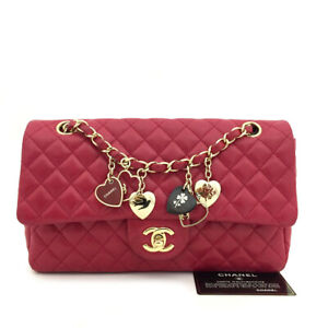 CHANEL Double Flap Quilted Matelasse Valentine Chain Shoulder Bag Red /41461