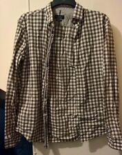 "ZARA MAN: Brown/white check, longsleeve, shirt, slim fit, pit-to-pit 19"" / 50cm"