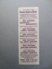 Antique BOOKMARK MRS BEETON'S FAMOUS COOKERY BOOKS Ward Lock Vintage Advertising