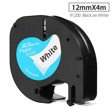 12mmx4m Label Tape Maker Cartridge For DYMO letraTAG 91200 Black & White