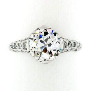 Antique Edwardian Platinum GIA European 2.39ct Diamond Solitaire Engagement Ring