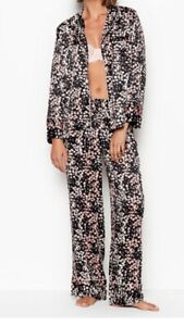 NEW Victoria Secret Satin Pj Pajama Set 2 Piece Black Floral Luxe Pajamas XL