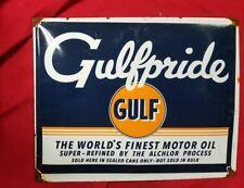 gulfpride gulf gasoline porcelain sign.