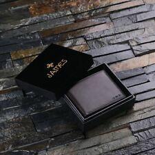 Personalised Engraved Monogram Full-Grain Leather Wallet Gift for Men