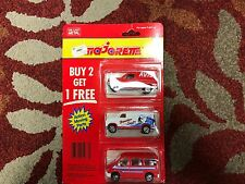 MAJORETTE 3 PK RED RENAULT EXPRESS WHITE FOURGON RED FORD TRANSIT NIP!!!