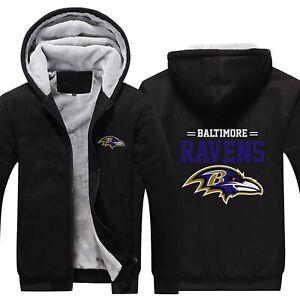 Baltimore Ravens Thicken Hoodie Fleece Sweatshirt Casual Jacket Winter Coat