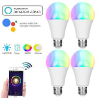 1-4PCS E27 WiFi Smart LED Light Bulb RGB+W Work With Alexa Google Home 4.5W 6.5W