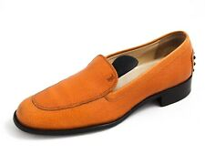Tod's Moccasin Loafer Orange Leather Womens Size EU 37.5 US 7.5 $480