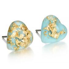 Elegant Natural GEMSTONE Turquoise Heart Shaped Stud Earrings Women Ear Jewelry
