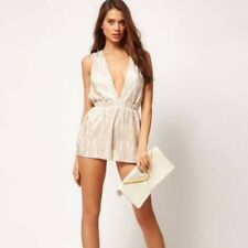 257cac16733b Womens Asos Gold White Deep V Plunging Shorts Dress Occasion Romper Size 2
