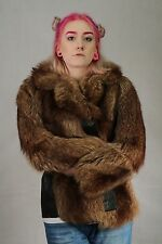 VINTAGE 70'S REAL DARK  WOLF COYOTE FUR COAT SIZE SMALL 8 TO 10 RARE FIND