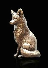 Butler & Peach Detailed Small Solid Bronze Fox Sitting Boxed Gift