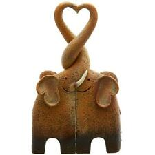 Cute Resin Entwined Kissing Elephant Family Making a Heart Statue Ornament New