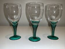 Unique And Beautiful Green & Crystal Blown Glass Cordial Glasses, Set Of 3