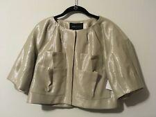 BCBG Max Azria Tan Metallic Shiny 3/4 Sleeve Jacket, Size XS