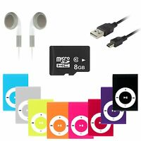 8 GB Mp3 Player Mini Clip Musik Aluminium Micro SD bis 16GB + Zubehörpaket