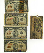 LOT OF 5 1900 AND 1923 SHINPLASTERS VARIOUS SIGNATRURES