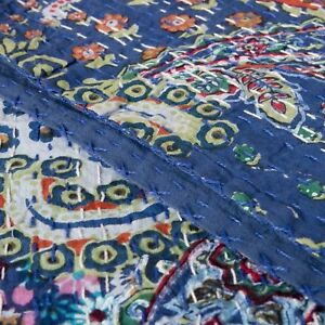 Reversible Blanket Kantha Twin Quilt Flower Print Bedspread Indian Cotton Throw