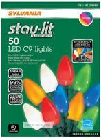 Sylvania Stay-lit 50 LED C9 Multi-color Christmas Lights NEW