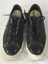 New Converse John Varvatos Low Top Sneakers Black Distress 7/ 9 Leather Accent