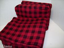 Cuddl Duds Heavyweight Cotton Red Buffalo Check Plaid Flannel Queen Sheet Set