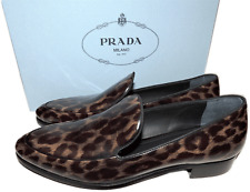 $675 Prada Patent Leather Leopard Print Pump Flat Moccasins Shoe 36- 5.5 Loafer