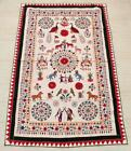 """79"""" x 46"""" Vintage Rabari Throw Embroidery Ethnic Tapestry Tribal Wall Hanging"""