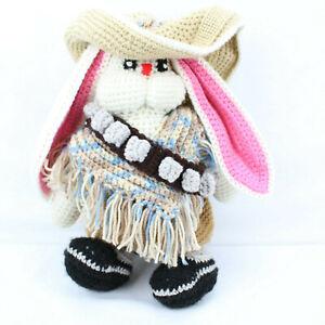 Easter Bunny Handmade Stuffed Toy Knitted Crochet Doll Sombrero Hat Shell Belt