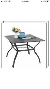 "EMERIT Outdoor Patio Bistro Metal Dining Table with Umbrella Hole 37""x37"",Black"