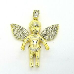 GM Gold Toned 925 Sterling Silver Baby Angel Pave CZ Cherub Small 1.5 In Pendant