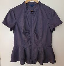 CUE work summer Peplum Shirt Top blouse cotton striped. Size 14. As NEW