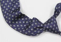 Hermes Paris Vintage 914 HA Navy Blue H Pattern Silk Narrow Necktie
