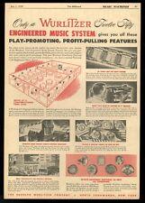 1950 Wurlitzer 1250 jukebox speakers etc music system vintage trade print ad