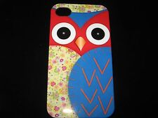 Owl Red Face Cover Case for iPhone 4 4s New Blue Wing w/ Flowers  Case
