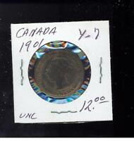 1901 Canada One Cent  large Penny coin Y 7