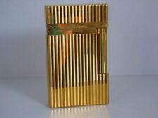 S T Dupont L2 Montparnasse Lighter-Gold Plated with Vertical Lines
