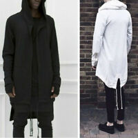 New Punk Mens Cardigan Hooded Long Cloak Cape Coat Cosplay Loose Casual Jacket