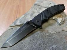 "Kershaw 7"" Tanto A/O Knife Folding Pocket Black 4Cr14 1/2 Serrated EDC 1322s"