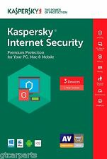 New Kaspersky Internet Security 2017 3 Devices 1 Year (Full License + Download)