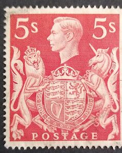 KGVI GB SG477 5shilling RED VERY LIGHTLY CANCELLED USED STAMP